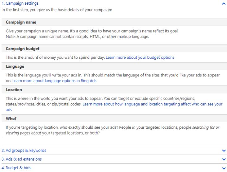 Bing Ad Campaign Settings